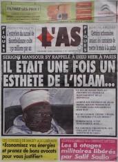 A la Une du Journal L'As du lundi 10 Décembre 2012