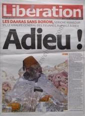 A la Une du Journal Libération du lundi 10 Décembre 2012