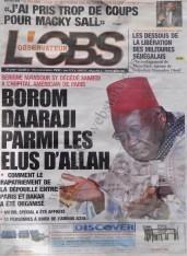 A la Une du Journal L'Observateur du lundi 10 Décembre 2012