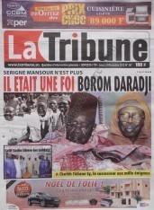 A la Une du Journal La Tribune du lundi 10 Décembre 2012