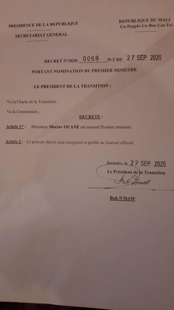 Mali - Moctar Ouané, Premier ministre de la transition
