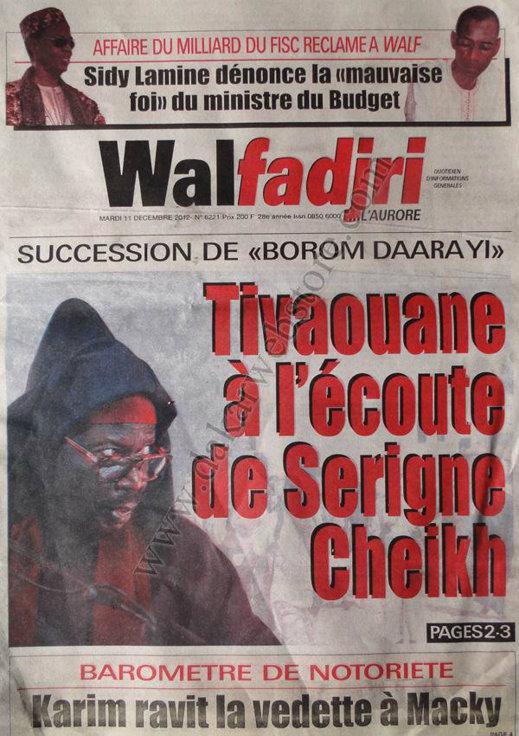 A la Une du Journal Walfadjri du mercredi 12 Décembre 2012