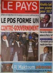 A la Une du Journal Le Pays du mercredi 12 Décembre 2012