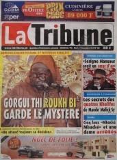 A la Une du Journal La Tribune du mercredi 12 Décembre 2012