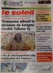 A la Une du Journal Le Soleil du mercredi 12 Décembre 2012