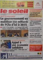 A la Une du Journal Le Soleil du Jeudi 13 Décembre 2012