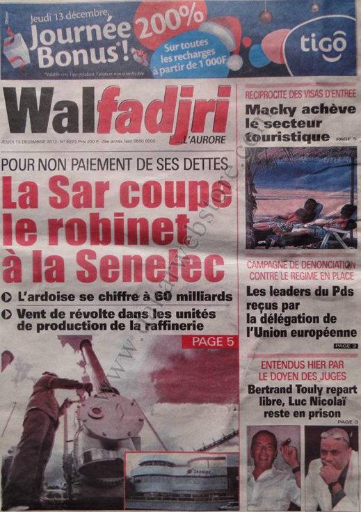 A la Une du Journal Walfadjri du Jeudi 13 Décembre 2012