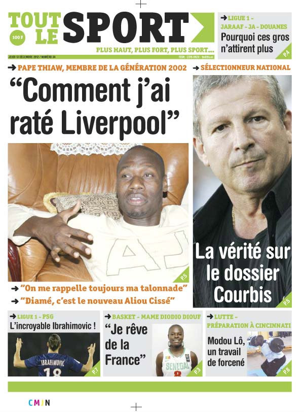 A la Une du Journal Tout Le Sport du Jeudi 13 Décembre 2012