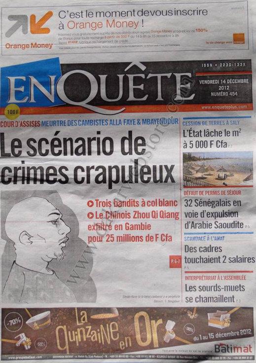 A la Une du Journal Enquête du Vendredi 14 Décembre 2012