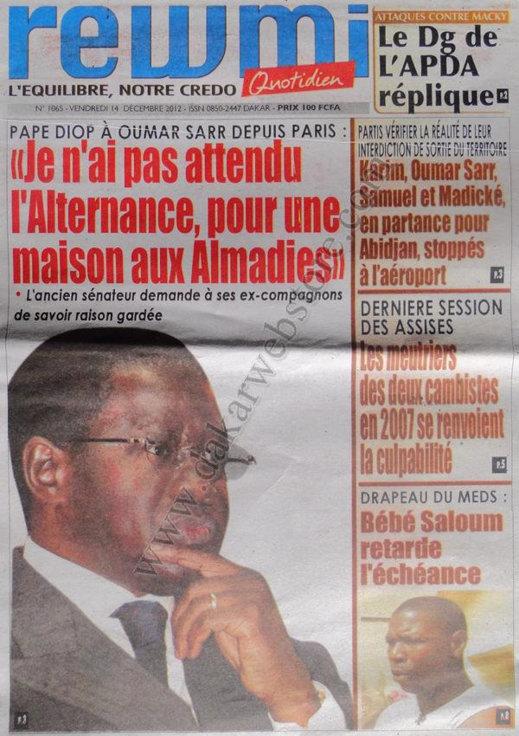 A la Une du Journal Rewmi du Vendredi 14 Décembre 2012