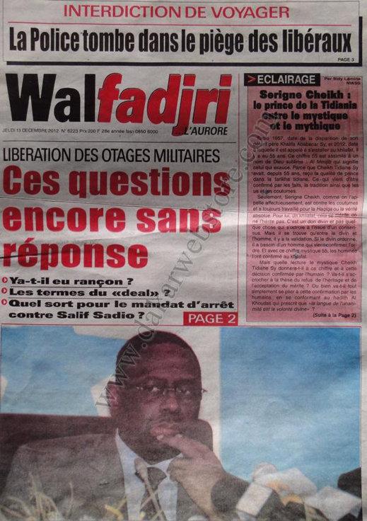 A la Une du Journal Walfadjri du Vendredi 14 Décembre 2012