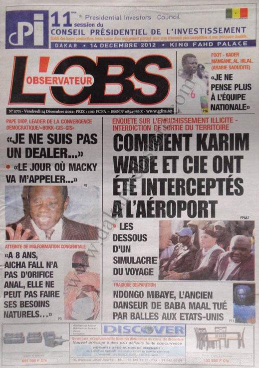 A la Une du Journal L'Observateur du Vendredi 14 Décembre 2012