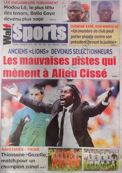 A la Une du Journal Walf Sports du vendredi 14 Décembre 2012