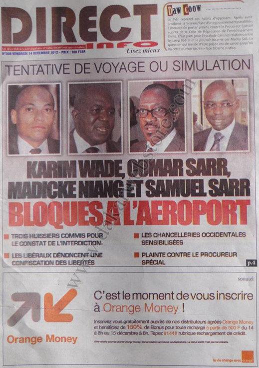 A la Une du Journal Direct Info du Vendredi 14 Décembre 2012
