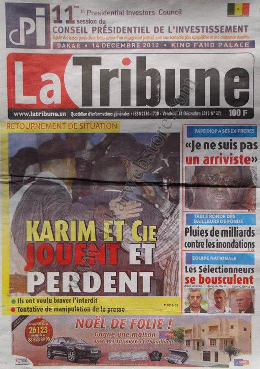 A la Une du Journal La Tribune du Vendredi 14 Décembre 2012