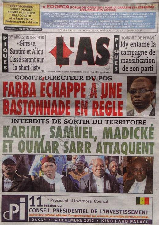 A la Une du Journal L'AS du Vendredi 14 Décembre 2012
