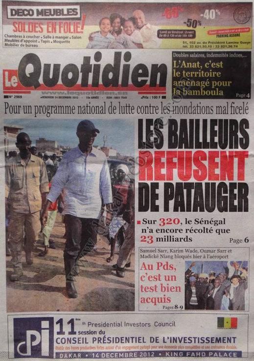 A la Une du Journal Le Quotidien du Vendredi 14 Décembre 2012