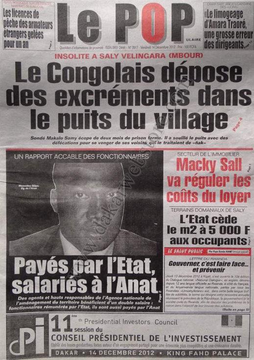 A la Une du Journal Le Populaire du Vendredi 14 Décembre 2012