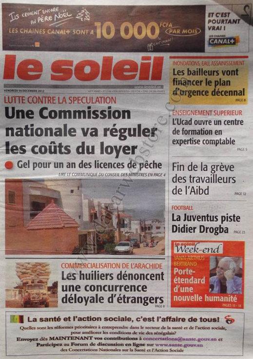 A la Une du Journal Le Soleil du Vendredi 14 Décembre 2012