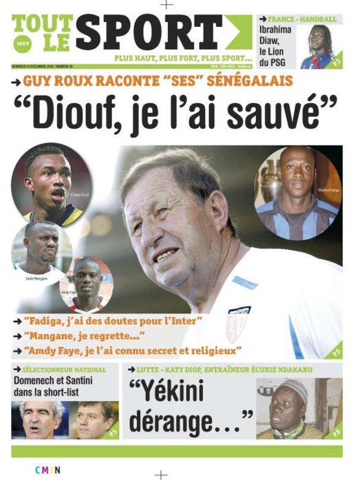 A la Une du Journal Tout Le Sport du Vendredi 14 Décembre 2012