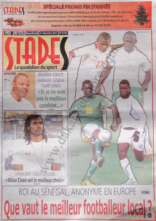A la Une du Journal Stades du Vendredi 14 Décembre 2012