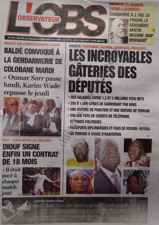 A la Une du Journal L'Observateur du Samedi 15 Décembre 2012