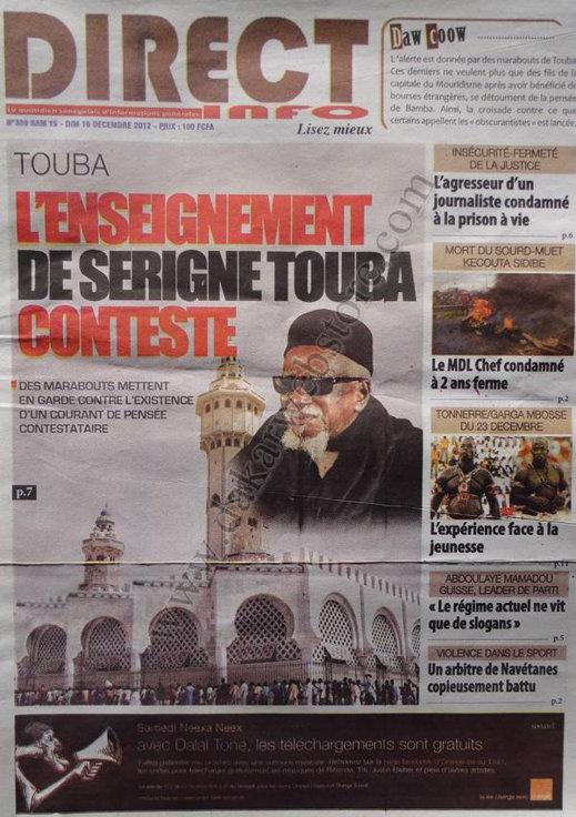 A la Une du Journal Direct Info du Samedi 15 Décembre 2012