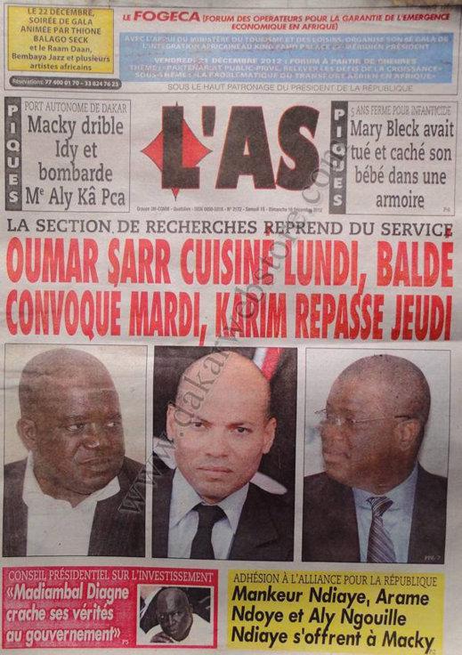A la Une du Journal L'As du Samedi 15 Décembre 2012