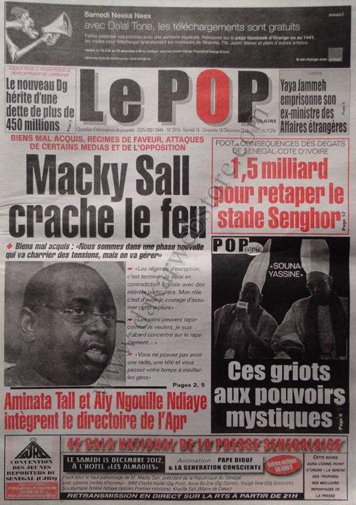 A la Une du Journal Le Populaire du Samedi 15 Décembre 2012