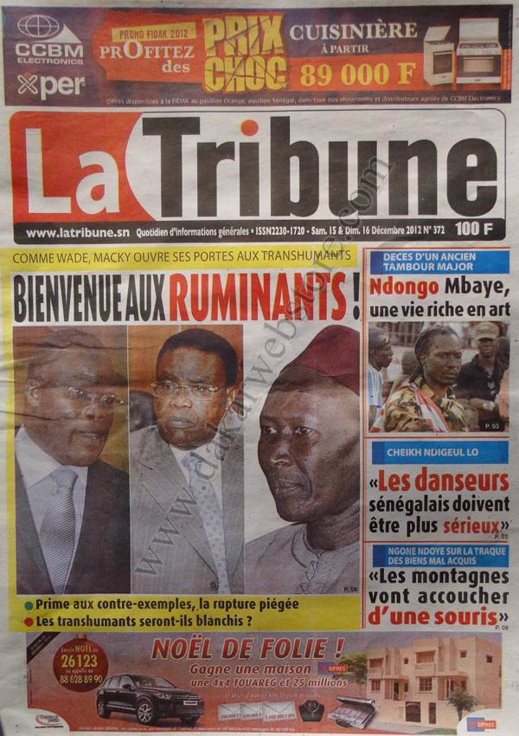 A la Une du Journal La Tribune du Samedi 15 Décembre 2012