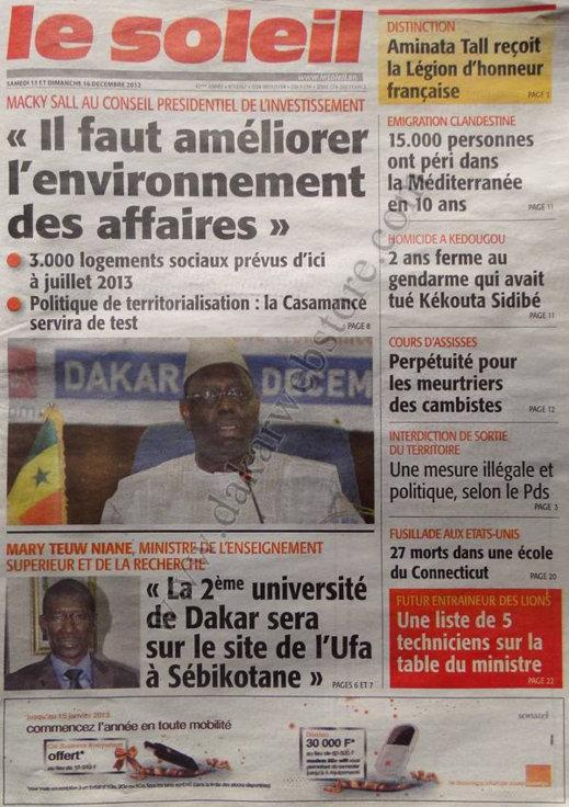 A la Une du Journal Le Soleil du Samedi 15 Décembre 2012