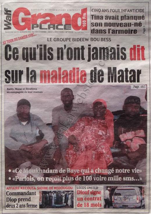A la Une du Journal Walf Grand Place du Samedi 15 Décembre 2012