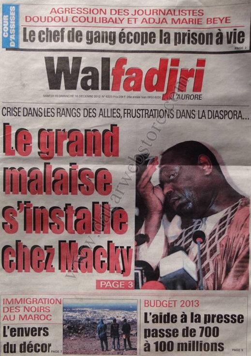 A la Une du Journal Walfadjri du Samedi 15 Décembre 2012
