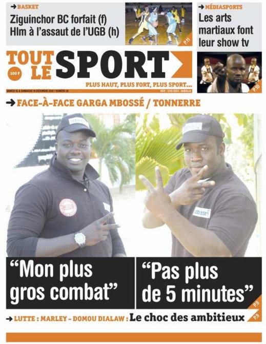 A la Une du Journal Toute le Sport du Samedi 15 Décembre 2012