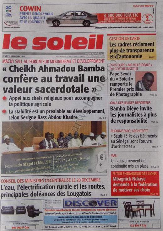 A la Une du Journal Le Soleil du lundi 17 Décembre 2012