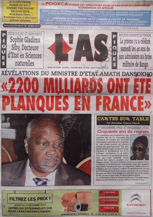 A la Une du Journal L'AS du lundi 17 Décembre 2012