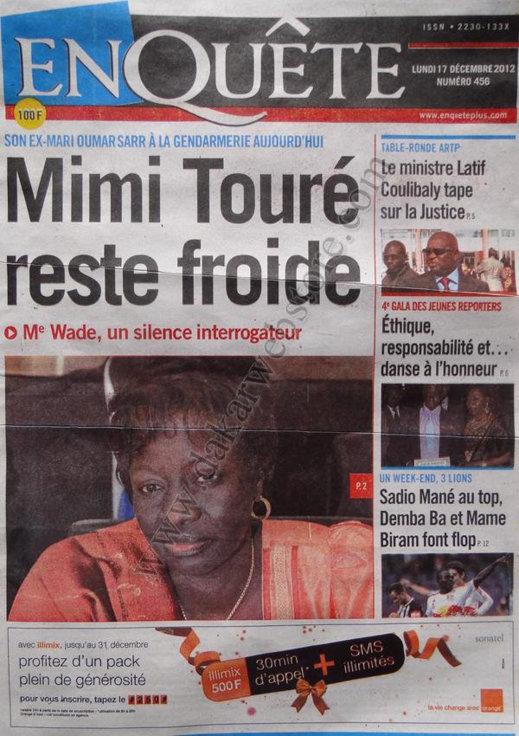 A la Une du Journal L'Enquête du lundi 17 Décembre 2012