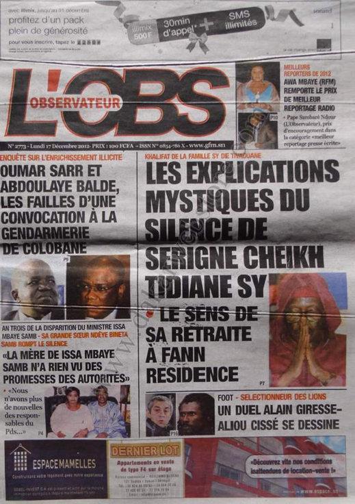 A la Une du Journal L'Observateur du lundi 17 Décembre 2012