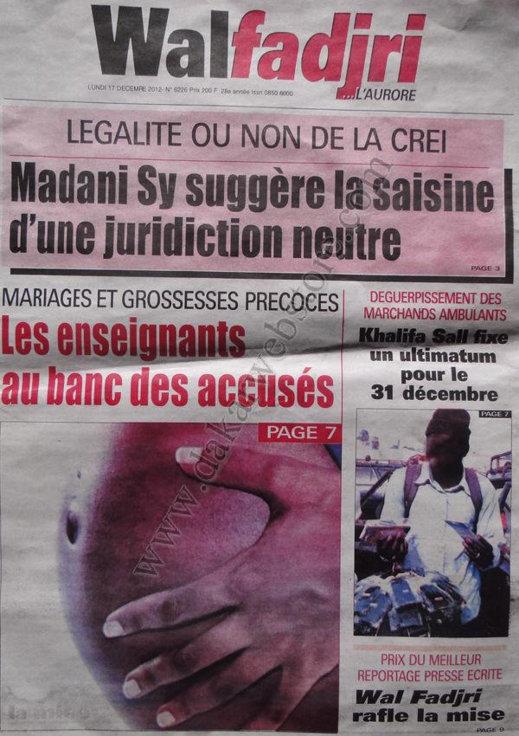 A la Une du Journal wafadjri du lundi 17 Décembre 2012