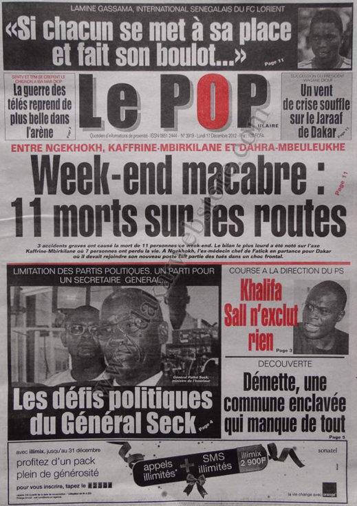 A la Une du Journal Le Populaire du lundi 17 Décembre 2012