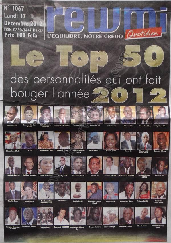 A la Une du Journal Rewmi du lundi 17 Décembre 2012