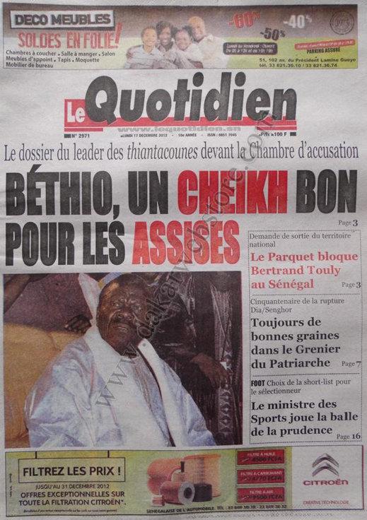 A la Une du Journal Le Quotidien du lundi 17 Décembre 2012