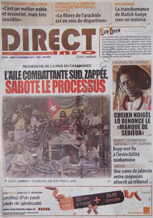 A la Une du Journal Direct Info du lundi 17 Décembre 2012