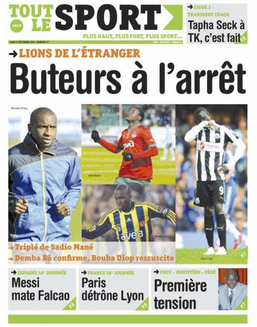 A la Une du Journal Toute Le Sport du lundi 17 Décembre 2012