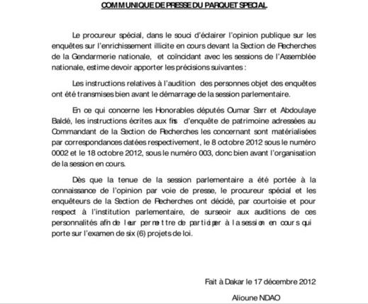 Communiqué du Procureur Alioune NDao