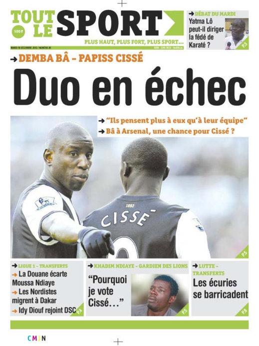 A la Une du Journal Toute Le Sport du Mardi 18 décembre 2012