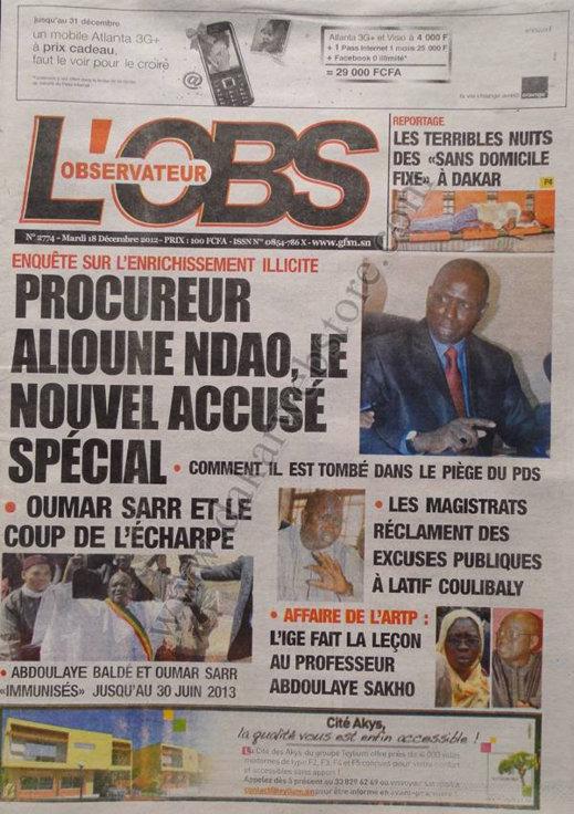 A la Une du Journal L'Observateur du Mardi 18 décembre 2012