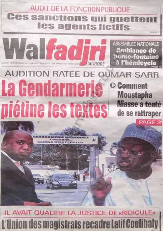 A la Une du Journal Walfadjri du Mardi 18 décembre 2012