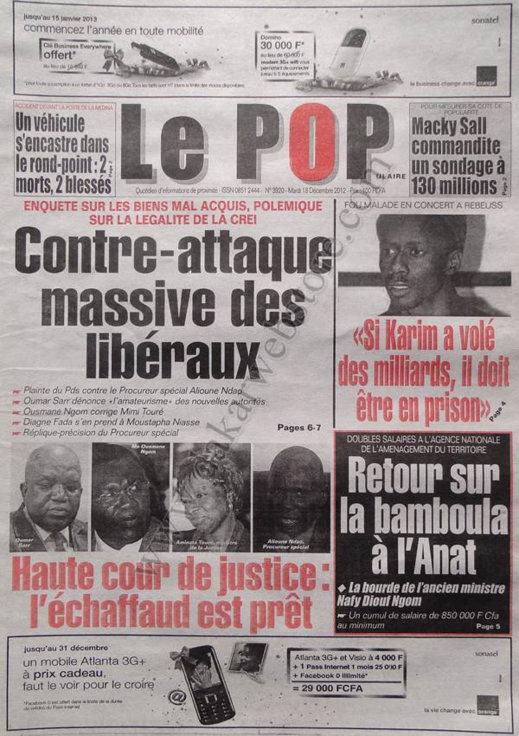 A la Une du Journal Le Populaire du Mardi 18 décembre 2012