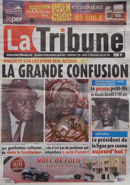 A la Une du Journal La Tribune du Mardi 18 décembre 2012